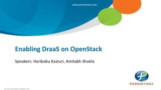 Enabling DraaS on OpenStack
