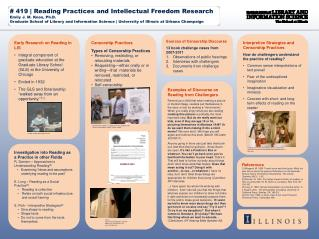 # 419 | Reading Practices and Intellectual Freedom  Research Emily J. M. Knox, Ph.D.
