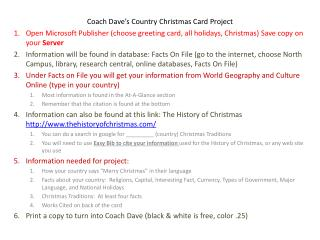 Coach Dave's Country Christmas Card Project