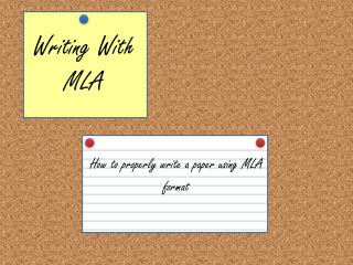 Writing With MLA