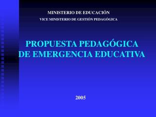 PROPUESTA PEDAG GICA  DE EMERGENCIA EDUCATIVA