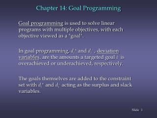 Chapter 14: Goal Programming