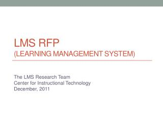 LMS RFP (Learning  Management  System)