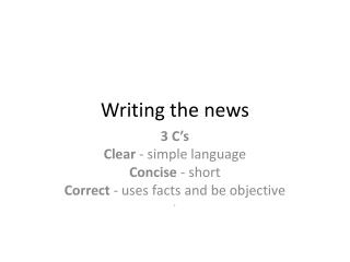 Writing the news