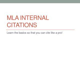 MLA internal Citations