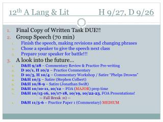 12 th  A Lang & Lit               H 9 / 27 ,  D 9 / 26