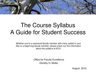 The Course Syllabus A Guide for Student Success
