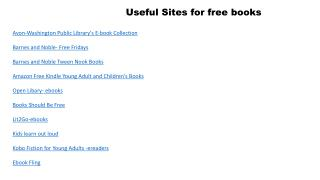Avon-Washington Public Library's E-book Collection Barnes and Noble- Free Fridays