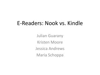 E-Readers: Nook vs. Kindle