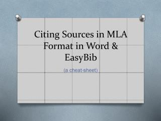 Citing Sources in MLA Format in  Word &  EasyBib
