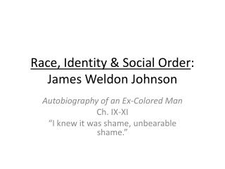 Race, Identity & Social Order : James Weldon Johnson