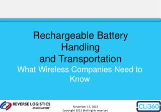 Rechargeable Battery Handling and Transportation