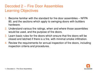 Decoded  2  –  Fire Door Assemblies Learning  Objectives