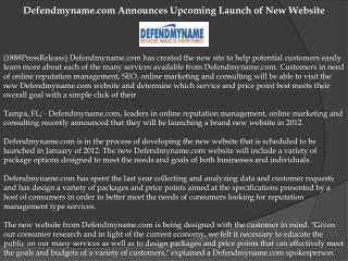 Defendmyname.com Announces Upcoming Launch of New Website