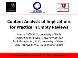 Content Analysis of Implications for Practice in Empty Reviews