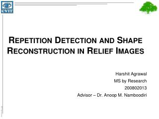 Repetition Detection and Shape Reconstruction in Relief Images