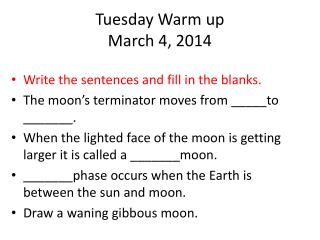 Tuesday Warm up March 4, 2014