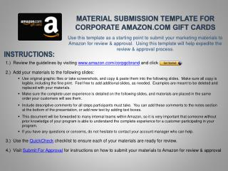 Material Submission template for Corporate Amazon.com Gift Cards