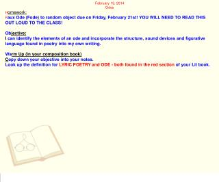 February 19, 2014 Odes H omework:
