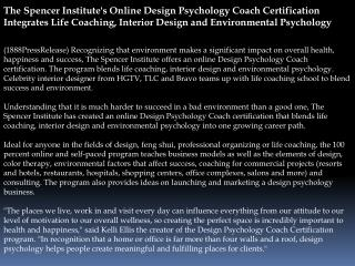 The Spencer Institute's Online Design Psychology Coach Certi