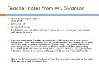 Teacher notes from Mr. Swanson