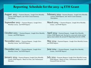 ETH Reporting Schedule