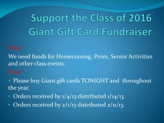 Support the Class of 2016 Giant Gift Card Fundraiser