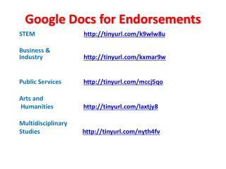 Google Docs for Endorsements