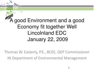 A good Environment and a good Economy fit together Well Lincolnland EDC  January 22, 2009