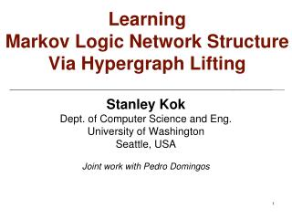 Learning Markov Logic Network Structure Via  Hypergraph  Lifting