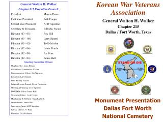 Monument Presentation Dallas Fort Worth National Cemetery
