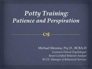 Potty Training:  Patience and Perspiration