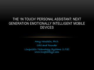 The  'In Touch' Personal Assistant: Next Generation Emotionally Intelligent Mobile  Devices