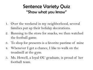 """Sentence Variety Quiz """"Show what you know"""""""