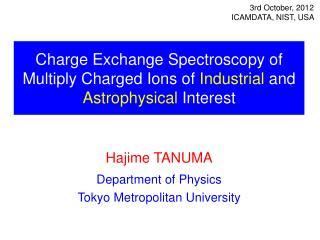 Charge Exchange Spectroscopy of Multiply Charged Ions of  Industrial  and Astrophysical  Interest