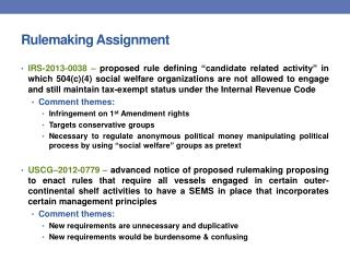Rulemaking Assignment
