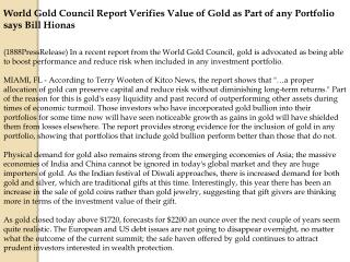 World Gold Council Report Verifies Value of Gold as Part of