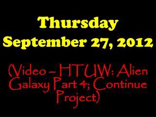 Thursday September 27, 2012