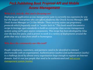 Packt Publishing Book Proposal API and Mobile Access Managem