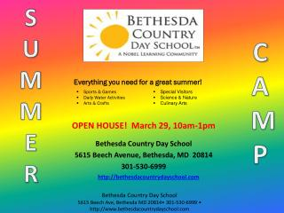 OPEN HOUSE!   March 29, 10am-1pm Bethesda Country Day School