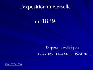 Diaporama réalisé par :  Fabio URSELLA et Manon PASTOR