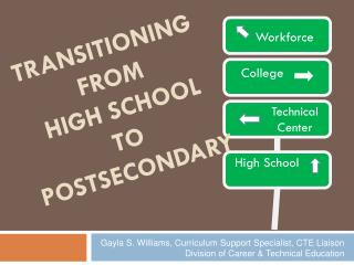 TRANSITIONING FROM  HIGH SCHOOL  TO  POSTSECONDARY