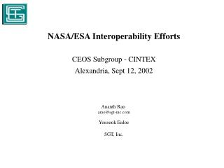 NASA/ESA Interoperability Efforts