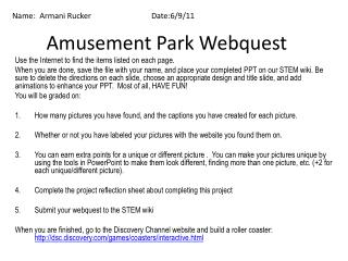 Amusement Park Webquest