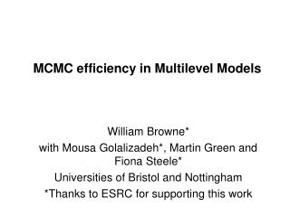 MCMC efficiency in Multilevel Models