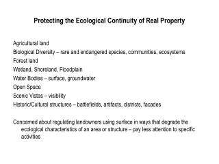 Protecting the Ecological Continuity of Real Property