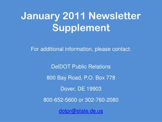 January 2011 Newsletter Supplement