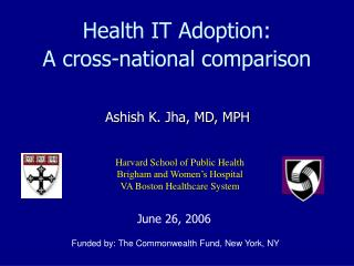 Health IT Adoption:   A cross-national comparison