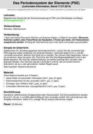 Das Periodensystem der Elemente (PSE) (Lehrenden-Information, Stand  09.07.2013 )