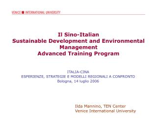 Il Sino-Italian  Sustainable Development and Environmental Management  Advanced Training Program